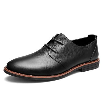 Men Genuine Leather Breathable British Style Lace Up Soft Casual Shoes