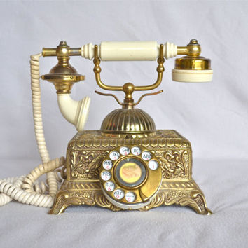 Vintage Gold and White Rotary Phone