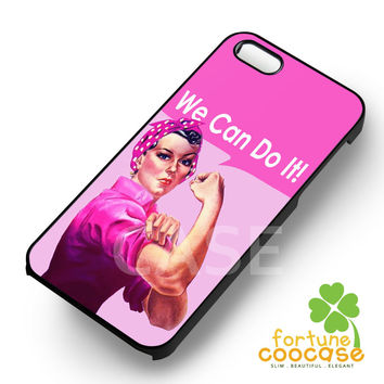 Breast Cancer Campaign Pink Rosie The Riveter -swe for iPhone 6S case, iPhone 5s case, iPhone 6 case, iPhone 4S, Samsung S6 Edge