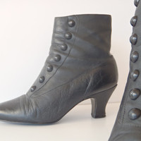Granny Boots Victorian Black Leather Ankle Boots Made in Brazil / Vintage Clothes by FeistyFarmersWife