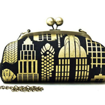 Cotton Clutch Bag with Shoulder Strap, Black and Gold City, Antique Brass Purse Frame, Kiss Lock, Gifts for her, Gifts for mother