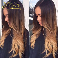 Brazilian Virgin Hair Glueless Full Lace Wigs Ombre Blonde Hair Wavy Lace Front Wig T1B/4/27 Three Tone Colored Wavy Hair
