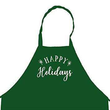 Happy Holidays Christmas New Year Chef's Funny Cooking Apron Kitchen, BBQ Grill, Breathable, Machine Washable…