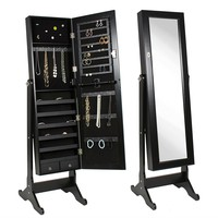Black Wood Jewelry Armoire Cabinet Full Length Mirror