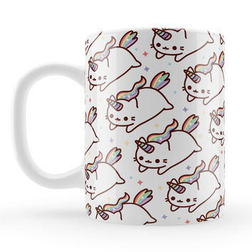 Caticorn Pattern Mug, cute cat unicorn gift, unique rainbow kawaii present, cute cat character birthday gift, friends present ideas UK
