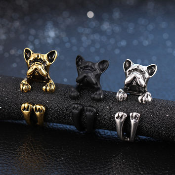 3 Color Vintage Antique Hippie Puppy Dog Wrap Rings Pet Dog Opening Ring Bulldog Finger Ring Jewelry