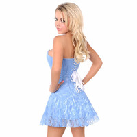 Lavish Baby Blue Lace Corset Dress S-6X Plus Size
