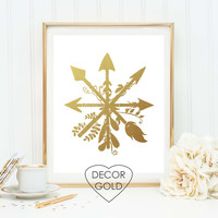 arrows modern Gold foil print art gold foil gold office decor gold home decor wall art gold foil art gift nursery art compass modern art