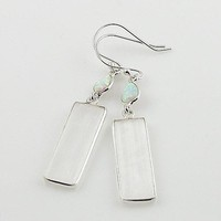 Selenite & Fire Opal Sterling Silver Earrings