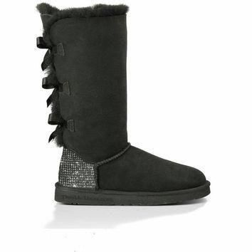 Custom Uggs, Bailey Bow Tall UGG Boots, Uggs, Tall Uggs, Black Bailey Bow Uggs, Uggs w