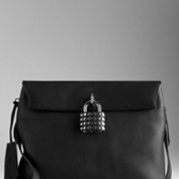 Small Studded Padlock Leather Crossbody Bag