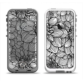 The White and Black Flower Illustration Apple iPhone 5-5s LifeProof Fre Case Skin Set