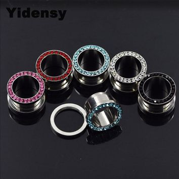 Yidensy 2pcs Crystal Ear Plug Tunnels 5mm Stainless Steel Piercings Earring Rhinestone Ear Stretcher Punk Metal Body Jewelry