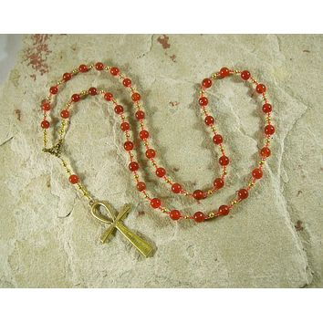 Egyptian Prayer Bead Necklace in Carnelian with Ankh