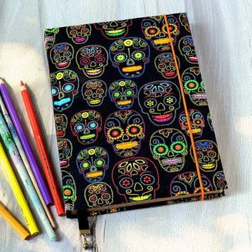 Halloween journal Handmade notebook A5 fabric journal Skull fabric covered notebook Old paper journal Vintage diary Coffee pages Blank book