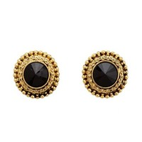 BAROQUE FACETED STONE STUD EARRINGS