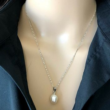 White Pearl Drop Sterling Silver Necklace