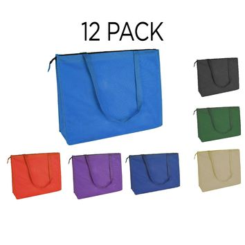 "DALIX 20"" Extra Large Reuseable Shopping Grocery Tote With Zipper (12-PACK)"