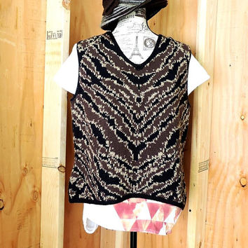 Vintage 80s Hand Knit Vest / M / L / Harolds heavy cotton sweater top / vest / brown and black sleeveless knitted sleeveless top sweater