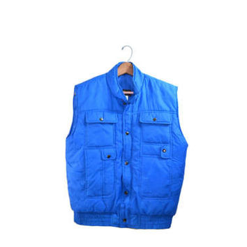 Vintage Blue Vest Quilted Vest Vintage Ski Vest Men's Blue Vest Men's Outerwear Men's Quilted Vest Vest with Pockets
