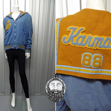 Vintage 80s Cheerleader Jacket Wool Letterman Bomber Sailor Collar Varsity Jacket Blue and Yellow Karmal Hipster Preppy Coat Kawaii C Club