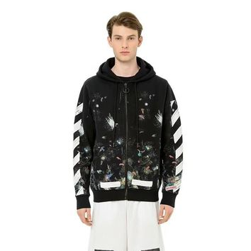 Off White Star Fireworks Inkjet Stripes Doodle Cardigan Hooded Sweater Round neck sweater Hooded sweater