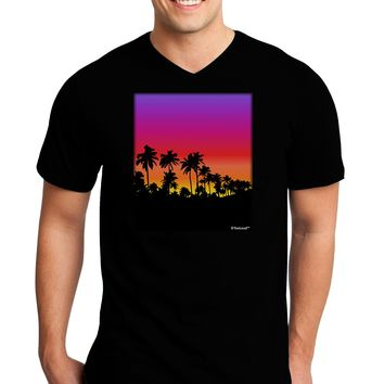 Palm Trees and Sunset Design Adult Dark V-Neck T-Shirt by TooLoud