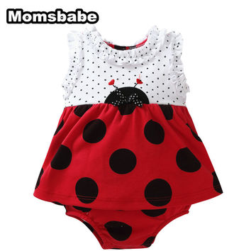 Cute Cartoon Baby Girl Rompers Dress Baby Costumes Jumpsuit 100% Cotton 0-9 Months Bohemian Mini Dresses Roupas de Bebe