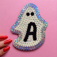 Custom Ghost Letter Patch Hand Embroidered Sequin Initial Applique