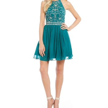 B. Darlin Halter Neckline Beaded Bodice Party Dress | Dillards
