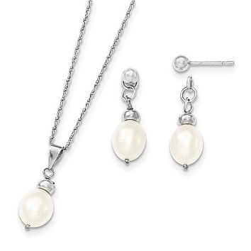 925 Sterling Silver White Culture Pearl Necklace Charm with Earrings