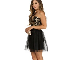 Black Twirl Sequin Dress