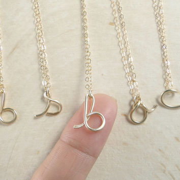 Personalized Initial Necklace in Gold Filled or Sterling Silver / Children's Tiny Initial Necklace / Personalized Necklace / Simple Necklace