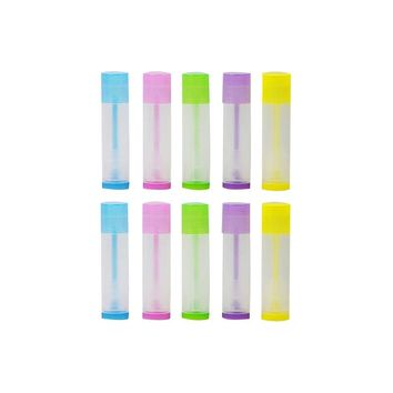 50pcs Lip Balm Empty Container Clear Tubes with Twist Bottom and Top Cap