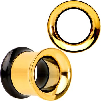 00 Gauge Gold PVD Black Two Tone Screw Fit Tunnel Plug Set