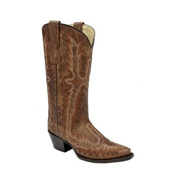 Corral Tan Cognac Full Stitch Leather Boots G1178