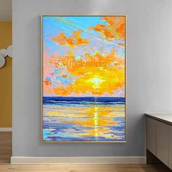 Sea sunset Painting  Modern Abstract original oil painting on canvas heavy texture extra quadros Large Wall Art Pictures cuadros abstractos