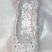 "Nutcracker Snow Queen/Snowflake in white. Frozen ""ice"" crystals, snowflakes, and AB Swarovski accents. Ready to ship. Decorated pointe shoe."