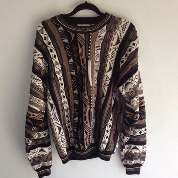 80s Hipster Oversized Coogi Style Sweater
