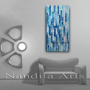 Original Textured Wall Art, Large Abstract Painting Blue Modern Oil Painting Canvas Art 24x48 Canvas Ready to hang by Nandita Albright