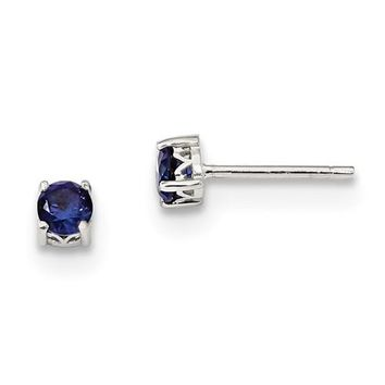 Sterling Silver 4mm Round Created Blue Sapphire Earrings