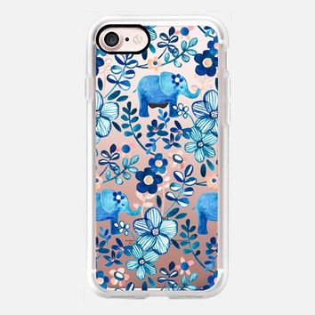 Little Blue Elephant Watercolor Floral on Transparent iPhone 7 Case by Micklyn Le Feuvre | Casetify