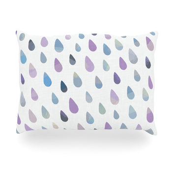 "Daisy Beatrice ""Opal Drops - Mist"" Purple White Oblong Pillow"