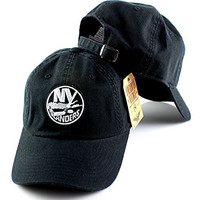 New York Islanders NHL Blue Line Black and White Adjustable Hat