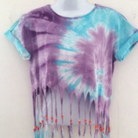NEW Tie Dye Beaded Tassel Crop Top T Shirt Retro Grunge Hipster Festival 10/12
