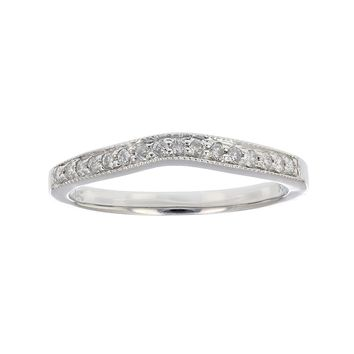 0.16 Carats 0.18 ctw Contour Milgrain Diamond Wedding Band in 14K White Gold