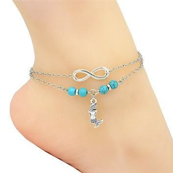 Fashion Barefoot Sandals Boho Anklet Silver Infinity Charm Cute Elegant Little Mermaid