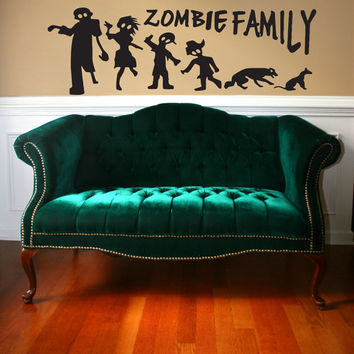 Zombie Family Stick Figure Horror Undead Pattern design Wall Art Sticker Decal tr067