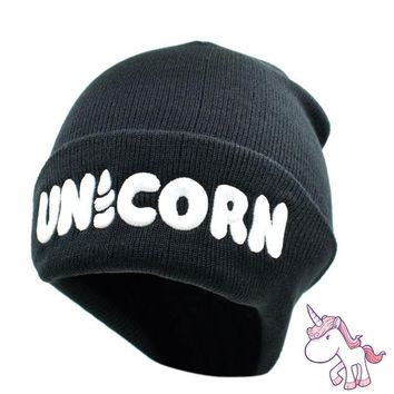 Womens Unicorn White Lettering Embroidered Black Knitted Beanie Hat