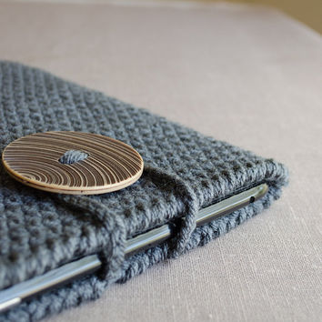iPad Case in Dark Grey - Crochet Gray iPad Sleeve - iPad Cover - Tablet Case - Earth Neutral Rustic Man Men Nature Camp Wood Rain Cloud Blue